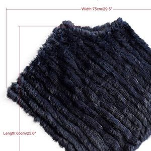 Sweaters - Dyed Rabbit Fur Poncho Navy